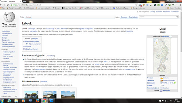 Website Wikipedia over Libeek historie